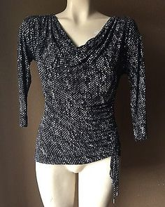 MICHAEL MICHAEL KORS COWL NECK RUCHED JERSEY TOP SHIRT BLOUSE SZ S