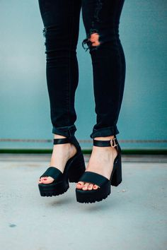 Great height and actually so comfortable, Black Ankle Strap Chunky Heel Sandals. Great height and actually so comfortable, Black Ankle Chunky Strap Heel Sandals. Sock Shoes, Cute Shoes, Me Too Shoes, Shoe Boots, Ankle Strap Heels, Pumps Heels, High Heels, Ankle Straps, Sandal Heels
