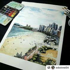 #Repost @edwinrei04 ・・・ Busan city . #watercolor #watercolorsketch #watercolor_gallery #sketsagram #sketch_daily #sketchbook #devianart #drawing #drawingsketch #illustration #artwork #illustration #instasketch #sketch #arquitectura #archisketcher #watercolor_gallery