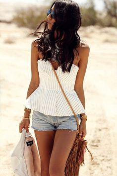 Summer look | Shorts and striped peplum top