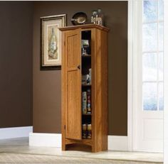 Kitchen Storage Cabinet Pantry Utility Wood Food Tall Cupboard OAK Country Shelf #Sauder #CountryRusticCottage