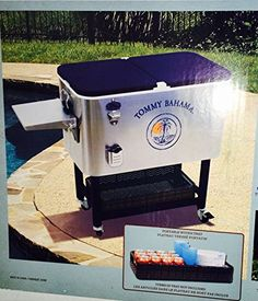 Tommy Bahama 100 Qt Stainless Steel Rolling Party Cooler Patio Beach  Portable Ice Cooler With Wheels