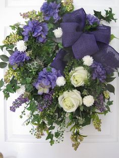 SHABBY COTTAGE- Purple Creme Burlap Spring Summer Floral Wreath- Free Shipping on Etsy, $140.00