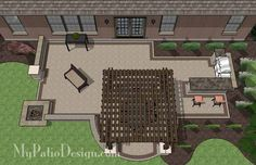 Creative Brick Patio Design with Pergola, Fire Pit and Bar 2