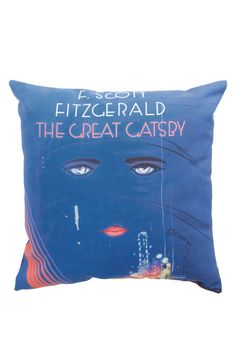 Book Club Cozy Pillow in Jay. Your iconic decor is anything but ordinary, and this colorful Great Gatsby throw pillow only adds to its glamour! #blue #modcloth