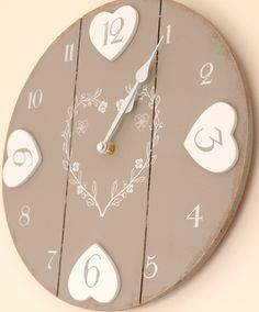 -clock-chic-shabby-distressed-style-wooden-hearts-kitchen-wall-clock ...