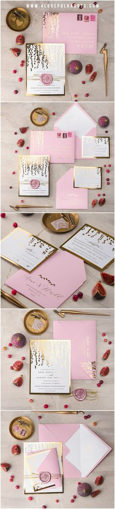 Gold Foil Pink Wedding Invitation with wax stamp #gold #pink #elegant #romantic #glam #weddingideas #stationery #invitations