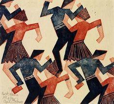 Folk Dance (1928) | Cyril Edward Power  linocut http://superkintaro.tumblr.com/post/24461644587/freshsway-folk-dance-1928-cyril-edward