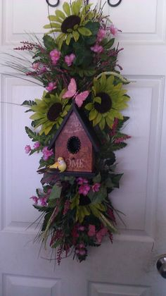 Bird House Floral Door/Wall Swag on Etsy, $125.00