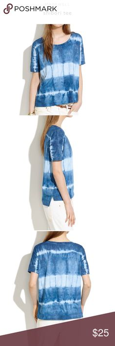 Madewell Shibori tie dye tee size S Excellent condition Madewell Shibori tee size small. We're a little bit obsessed with Japanese shibori, a centuries-old tie-dye technique that traditionally uses our beloved indigo blue, so how could we resist creating our own hand-dyed version? Here, in an easy drop-sleeve tee with a side slit hem.    Drapey fit. Cotton. Machine wash. Import. Madewell Tops Tees - Short Sleeve
