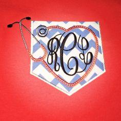 Monogrammed Pocket T-shirt for Nurses on Etsy, $21.00
