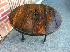 Upcycled Coffee Table, Spool Table, Industrial Table,Plumbing Pipe Furniture JBJunkmarket via etsy