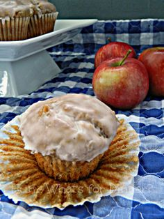 Hun... What's for Dinner?: Apple Fritter Muffins- These moist muffins are studded with tender spiced apples and dipped into a sweet glaze.