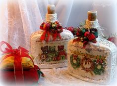 Фото, автор Chapa96 на Яндекс.Фотках Wine Bottle Candles, Wine Bottle Art, Bottles And Jars, Christmas Decoupage, Christmas Crafts, Christmas Centerpieces, Xmas Decorations, Christmas Wine Bottles, Christmas Bulbs