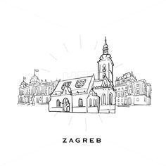 Outlined vector sketch separated on white background. Architecture drawings of all European capitals. Famous Architecture, Architecture Drawings, Croatia Pictures, Zagreb Croatia, Insta Snap, Instagram Highlight Icons, European Travel, Vector Design, Design Art