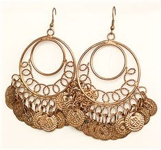 Copper Coin Circle Earrings - At DancingRahana.com