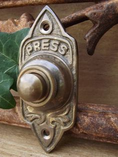 EX DISPLAY Traditional Victorian Old Style Brass Door Bell Press Push Aged  Brass