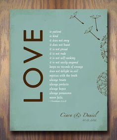 1 Corintios 13 el amor es paciente versículo por WordsWorkPrints, $20.00