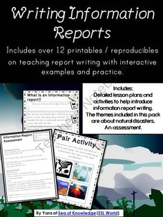 Writing Information Reports Writing Unit Printables Grades 4-6 / ESL from SeaofKnowledge on TeachersNotebook.com -  (25 pages)  - Information Report Writing Pack. This unit is a collection of lesson materials to help support and deliver lessons to teach report writing to students who have possibly never encountered report writing before.