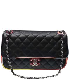 #Chanel Classic Double-C Buckle Sheepskin Check Color A93728  Most popular bag in #2017Chanel Cruise Collection.#Flap bag, #lambskin, resin & silver metal-#black & #multicolor - CHANEL