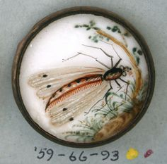 Button made in France, hand painted, porcelain, brass, & glass.
