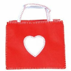 Felt Valentine Bag with blanket stitching. Adorable tote for holding valentines! At Bella Luna Toys. $9.95