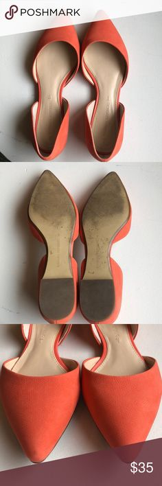 Banana republic flats! Pointed toe, super cute! These are not red- they are more coral. Excellent used condition. I wear a 7.5 and these fit me great. Banana Republic Shoes