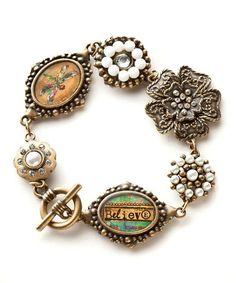 Look what I found on #zulily! Gold & White 'Believe' Vintage Bracelet by Kelly Rae Roberts #zulilyfinds