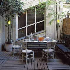 A courtyard terrace lined wood
