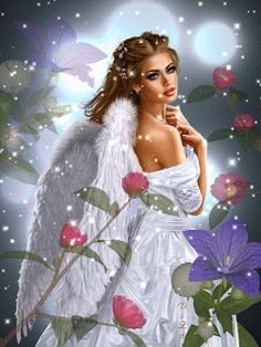 Cute Live Wallpaper: Angel Animated GIF 2 - Best of Wallpapers for Andriod and ios Beautiful Fantasy Art, Beautiful Fairies, Beautiful Gif, Beautiful Artwork, Beautiful Pictures, Fairy Pictures, Angel Pictures, Angel Images, I Believe In Angels