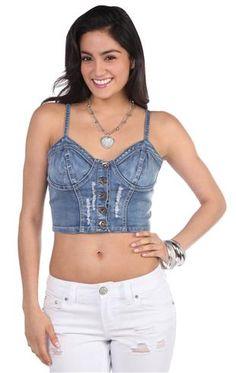 cropped denim bra cup corset top