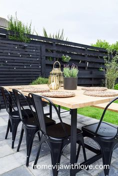 Garden Patio Area makeover, custom built black wooden privacy screen, grey slabbed area. Outdoor Patio Designs, Diy Patio, Outdoor Decor, Garden Slabs, Backyard Landscaping, Backyard Ideas, Fence Lighting, Large Planters, Amazing Spaces