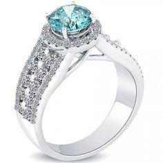 2.58 Carat Fancy Blue Diamond Engagement Ring 14k White Gold Pave Halo Vintage - Fancy Color Engagement Rings - Engagement - Lioridiamonds.com