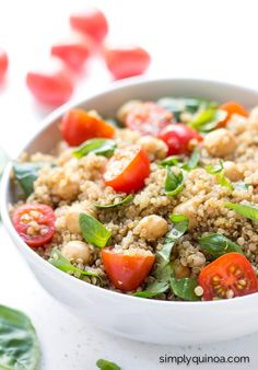 "This ""caprese"" quinoa salad is made with all the traditional flavors just NOT the cheese! 