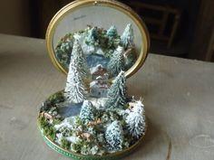 tiny miniature winter wonderland, xmas scene in compact , handmade miniature xmas gift