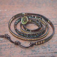 Bracelets Wrap En Cuir, Bracelet Wrap, Beaded Wrap Bracelets, Bohemian Bracelets, Hippie Jewelry, Beaded Jewelry, Jewelry Bracelets, Gold Jewellery, Jewellery Shops