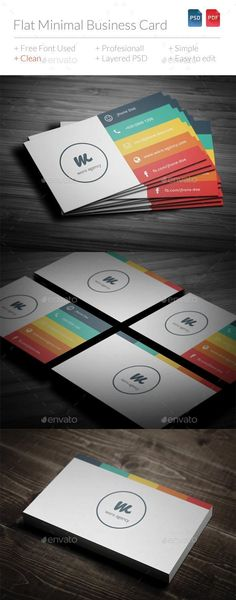 Buy Flat Minimal Business Card by BdgPixel on GraphicRiver. Flat Minimal Business Card is simple , colorfull, and elegant for anything corporate / creative agency. All layers ca. Round Business Cards, Minimalist Business Cards, Free Business Cards, Corporate Business, Logo Rond, Magazine Ideas, Photo Deco, Visiting Card Design, Bussiness Card