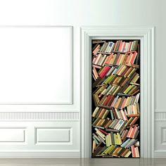 Book wallpaper for a door, perfect for disguising the cupboard full of crap!
