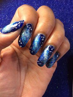 Galaxy nail art!!
