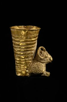 Gold Rhyton, Persia, 4th century B.C. decorative animals, nomadic people so most examples come from things buried with the dead