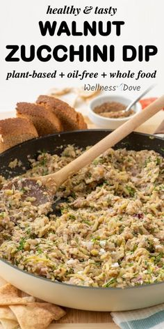 This easy and healthy zucchini dip is made with walnuts, red onion, garlic, lemon, dill, and mix of seasoning! Ready in less than 20 mins this is the perfect zucchini recipe for this season!  Truly healthy as well, this dip is oil free, with whole food, plant based ingrediets. Enjoy this healthy vegan recipes on toasted bread, flatbread or crackers! Vegan Appetizers, Easy Appetizer Recipes, Vegan Snacks, Healthy Zucchini, Whole Food Recipes, Cooking Recipes, Top Recipes, Simple Recipes