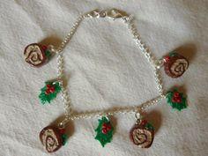 Bracelet bûche de Noël , feuilles de houx-bijou fimo : Bracelet par creareves
