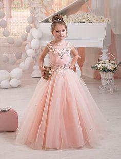 2016 Beautiful Cute Blush Pink Flower Girls' Dresses for Juniors Teens Kids Little Formal #FirstCommunion Prom Ball Wear Beaded Party Gowns