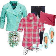 """Pink & Green Check Casual"" by stylisheve on Polyvore"