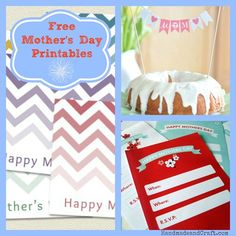 8 Free Mother's Day Printables...great DIY gifts!