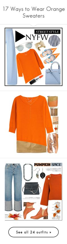 """17 Ways to Wear Orange Sweaters"" by polyvore-editorial ❤ liked on Polyvore featuring waystowear, orangesweaters, Kate Spade, Kurt Geiger, Miu Miu, Christopher Kane, 81hours, MAC Cosmetics, Christian Dior and Aéropostale"