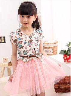 9f686d243b5 new 2014 printed flower children mash girls dresses kids dress with belt Toddler  Girl Style
