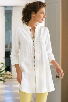 Our Desert Tunic is globetrotting chic at it's finest! Lightweight linen makes this style perfect for summer heat waves. Desert Tunic from Soft SurroundinGlobetrotting tunic in easy, lightweight linen is richly detailed with a row of colorful French Kurta Designs, Blouse Designs, Dress Designs, Vetements Clothing, Mode Pop, Boho Fashion, Fashion Outfits, Fashion Details, Gothic Fashion