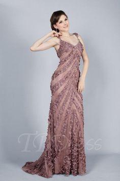 TBDress - TBDress Sheath/Column V-Neck Sweep Train Evening Dress - AdoreWe.com