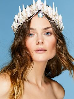 Cosmic Tides Mermaid Crown | Channel your inner mermaid with this stunning crown adorned with natural shell, lace and crystal embellishments. Ties delicately at the back for a custom fit.